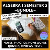 Algebra 1 Curriculum 2nd Semester Units 4-7 Editable