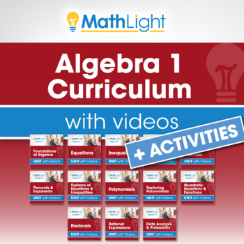 Algebra 1 Curriculum with Videos Bundle   Good for Distance Learning
