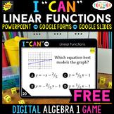 Algebra 1 DIGITAL I CAN Math Game   Linear Functions   FREE