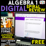 Algebra 1 DIGITAL Spiral Review & Weekly Quizzes | Google Forms | FREE