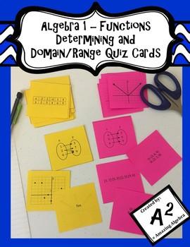 Algebra 1 - Determining and Domain/Range Function Quiz Cards
