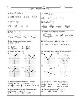 Algebra 1 Diagnostic Test