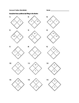 math diamond worksheets math best free printable worksheets. Black Bedroom Furniture Sets. Home Design Ideas