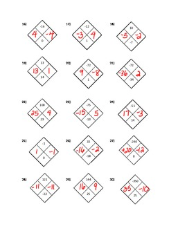 algebra 1 diamond problems worksheet with answers by smarshmath. Black Bedroom Furniture Sets. Home Design Ideas