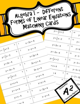 Algebra 1 - Different Forms of Linear Equations Matching Cards