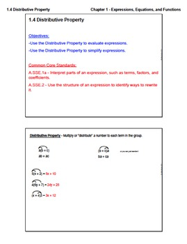 Distributive Property (Lesson Plan with Homework)
