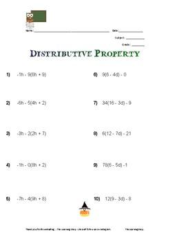Algebra 1 - Distributive Property Worksheet