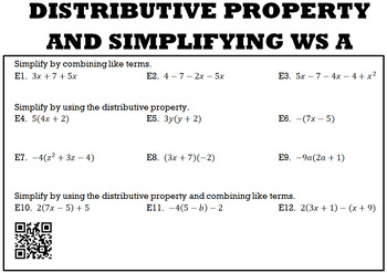 Algebra 1:  Distributive Property and Simplifying WS A and B with Keys/QR Codes