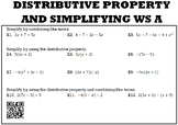 Algebra 1:  Distributive Property and Simplifying WS A and