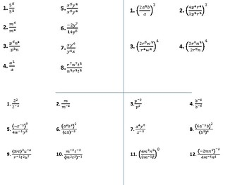 Algebra 1 properties of exponents worksheets
