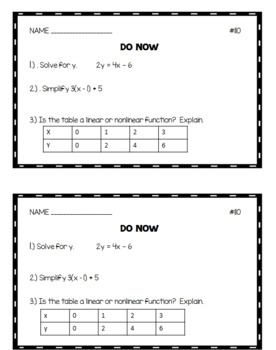 Algebra 1 Do Nows Bundle: Volumes 1 - 4