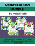 Algebra 1 Do Nows Bundle: Volumes 1 - 4