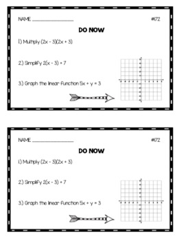 Algebra 1 Do Nows: Volume 4