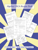 Algebra 1 ECA Review Pack - 6 Week Review Based on Common Core Standards