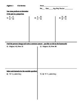 Algebra 1 ENTIRE unit set of test reviews