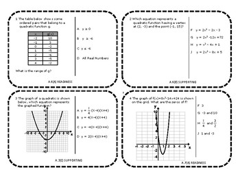 Algebra 1 EOC Category 4 Task Cards