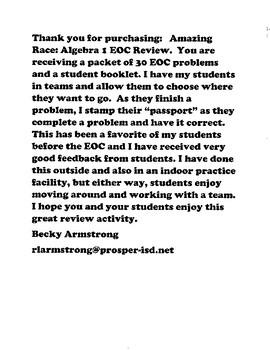 Algebra 1 EOC Review: Amazing Race