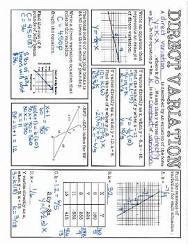 Algebra 1 EOC Review - Direct Variation