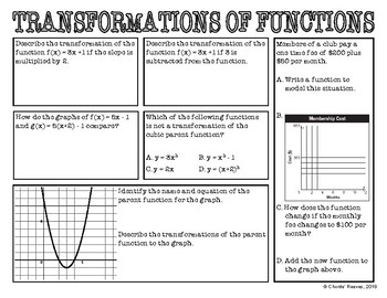 Algebra 1 EOC Review - Transformations of Functions