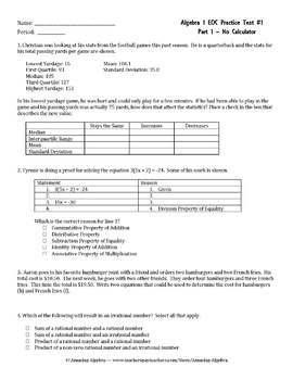 Algebra 1 EOC and FSA Practice Test #1