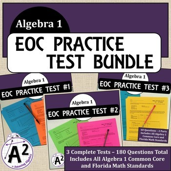 Algebra 1 EOC and FSA Practice Test Bundle