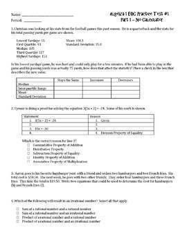 Algebra 1 EOC and FSA Practice Test Bundle