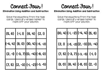 Algebra 1 - Elimination w/ Addition & Subtraction Task Cards - Connect Four Game