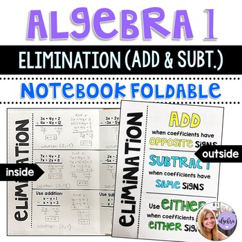 Algebra 1 - Elimination with Addition and Subtraction Systems Foldable
