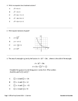Algebra 1 End of Course Practice Assessment