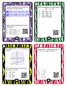 Algebra 1 End of Course Review with QR Codes