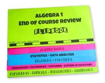 Algebra 1 End of Course   Algebra 2 Review  Flip Book plus STAAR version