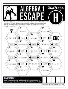 Algebra 1 End of Year EOC Review - Escape Room Activity by ...