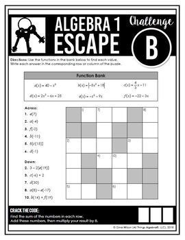 Algebra 1 End of Year EOC Review: Escape Room Activity