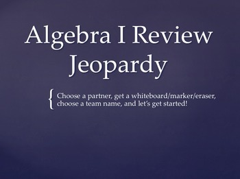 Algebra 1 End of Year State Test Review Jeopardy