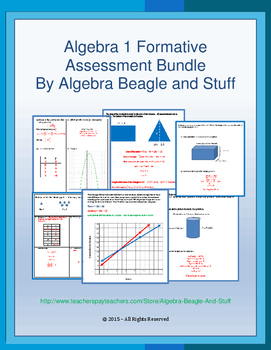 "Algebra 1with Geometry ""Formative Assessment"" Bundle"
