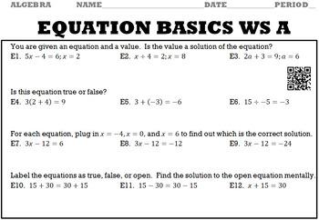 Algebra 1:  Equation Basics WS A and WS B with Keys/QR Codes