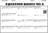 Algebra 1:  Equation Basics WS A and WS B with Keys/QR Codes