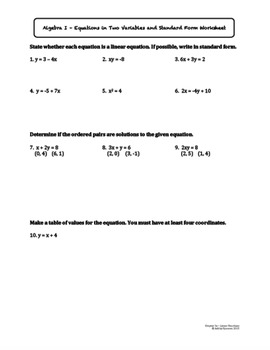 Introduction to Equations in Two Variables (Lesson Plan with Homework)