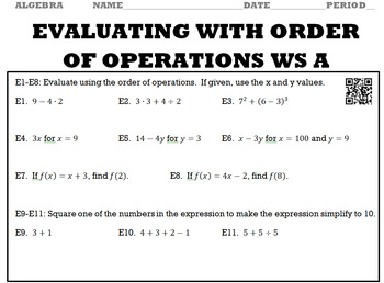 Algebra 1:  Evaluating With Order of Operations WS A and WS B with Keys/QR Codes