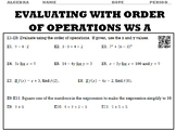 Algebra 1:  Evaluating With Order of Operations WS A and W