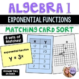 Algebra 1 - Exponential Functions - Graph and Table Matching Task Cards
