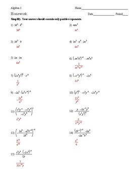 Algebra 1 - Exponents - Homework Pack
