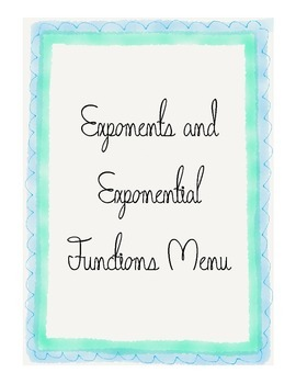 Algebra 1 Exponents and Exponential Function Review Choice Menu