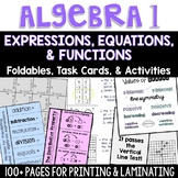 Algebra 1 - Expressions, Equations, and Functions Foldable and Task Card Bundle