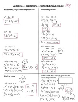 Algebra 1 Factoring Review (3 different versions, with answers)