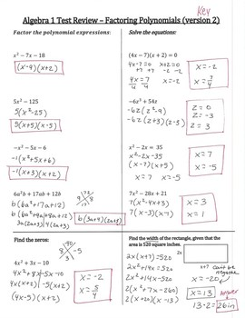 Algebra 1 Factoring Review (3 different versions, with