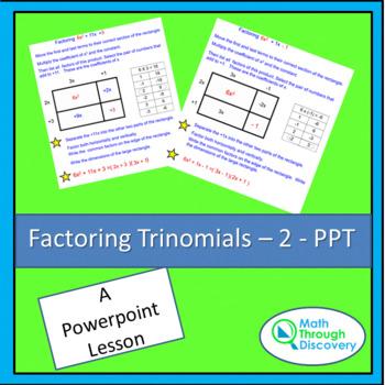 Factoring Trinomials - 2 - PPT