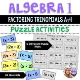 Algebra 1 - Factoring Trinomials ax^2 + bx + c Task Card Puzzle Mats - Set of 4