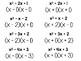 Algebra 1 - Factoring Trinomials x^2 + bx + c Flash Cards -HUGE Set of 223 Cards
