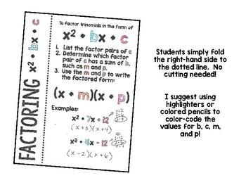 Algebra 1 - Factoring Trinomials x^2 + bx + c Foldable